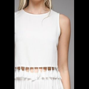 Do + Be White Tassel Crop Tank NWOT